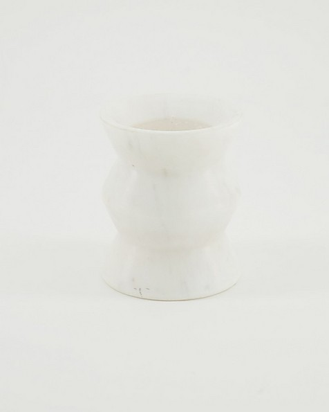Large Abstract Marble Candle  -  white