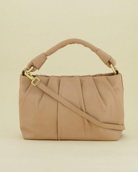 Luna Draped Leather Bag -  lightpink