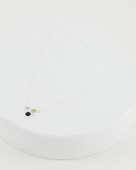 Trio Stone Pendant Necklace -  black