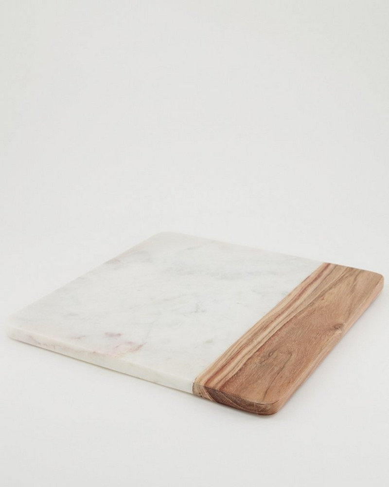 Marble and Wood Serving Board  -  white
