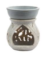 Floral Carved Stone Burner -  grey