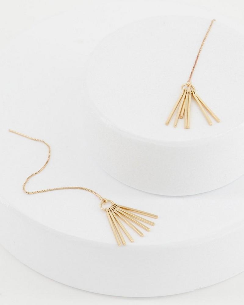 Metal Chain Tassel Drop Earrings -  gold