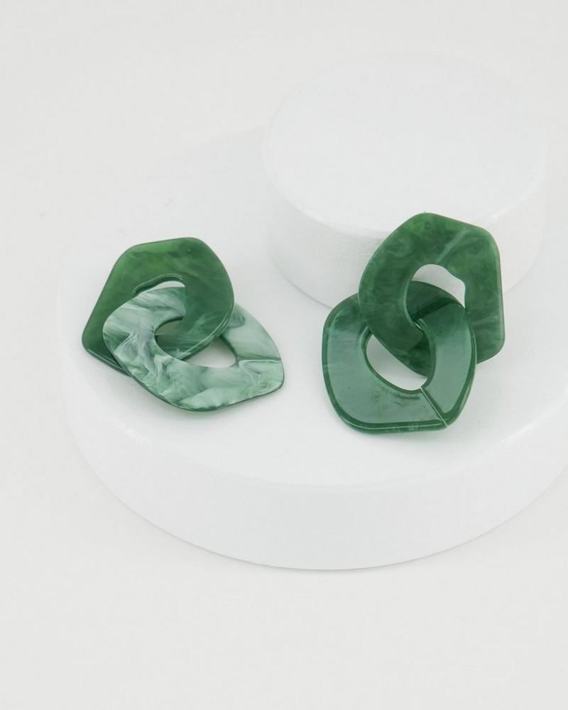 Large Resin Drop Earrings -  green
