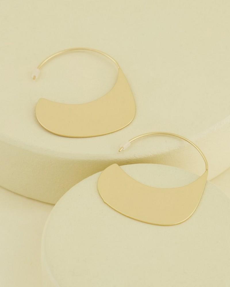 Clean Architectural Hoop Earrings -  gold