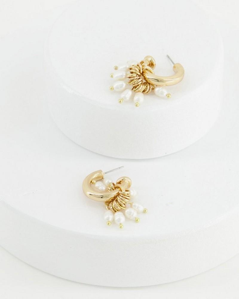 Heavy Pearl Cluster Hoop Earrings -  milk