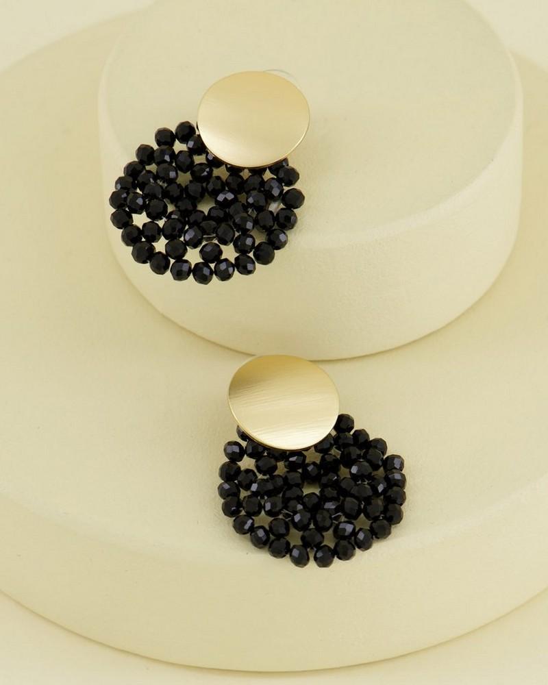 Double Disk Bead Drop Earrings -  gold