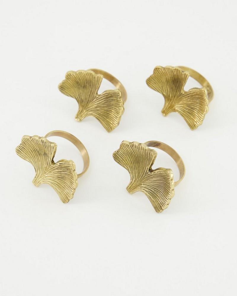 Gingko Napkin Ring S-4 -  gold