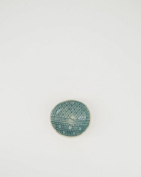 Wonki Ware Patterned Salt Bowl  -  teal