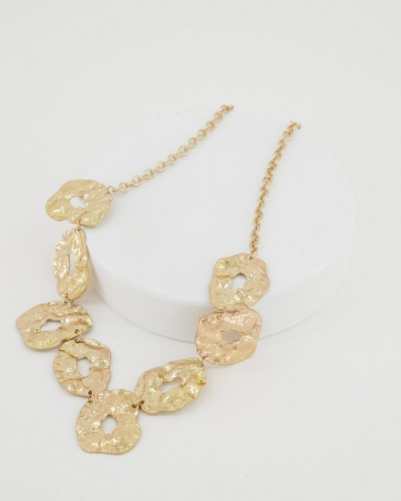 Textured Linked Disk Necklace -  gold