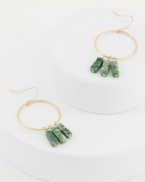Stone Bar Drop Earrings -  green