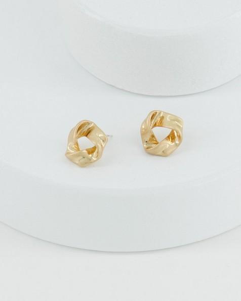 Textural Loop Stud Earrings -  gold