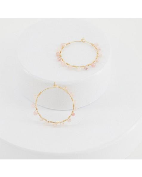 Beaded Hoop Earrings -  pink