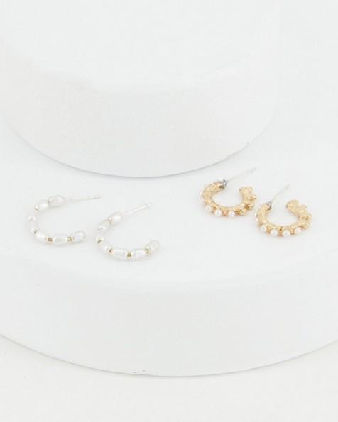2-Pack Pearl Hoop Earrings -  milk
