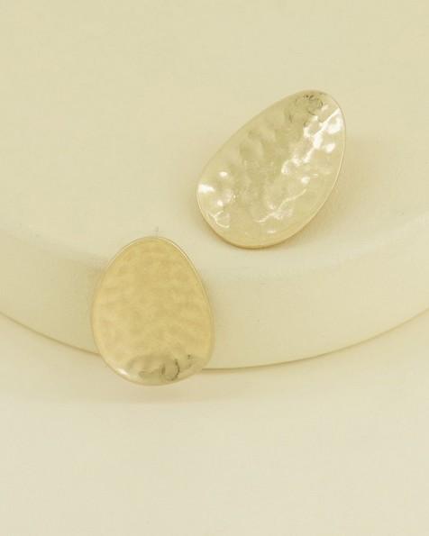Oval Beaten Metal Stud Earrings -  gold