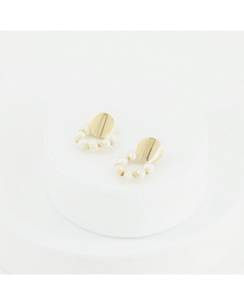 Circular Pearl Disk Drop Earrings -  milk