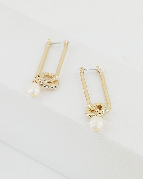 Oval Link and Pearl Earrings -  milk