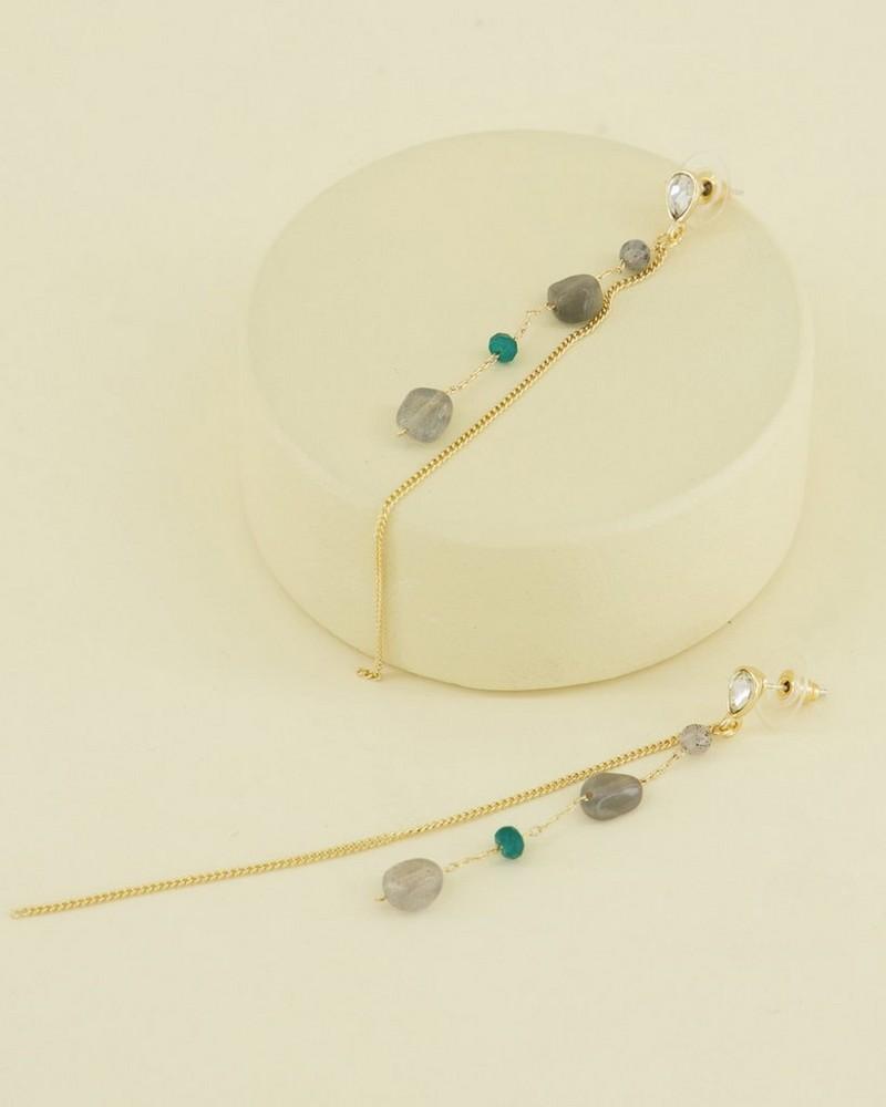 Fine Stone and Chain Drop Earrings -  green