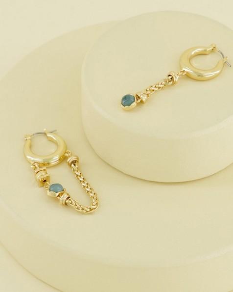 Assymetric Chain and Stone Hoop Earrings -  emerald