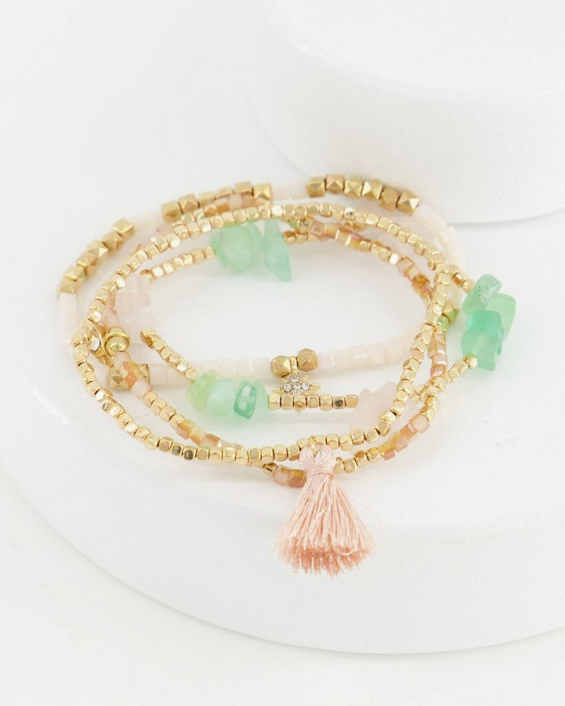 4-Strand Multi-Stone Stretch Bracelet -  green