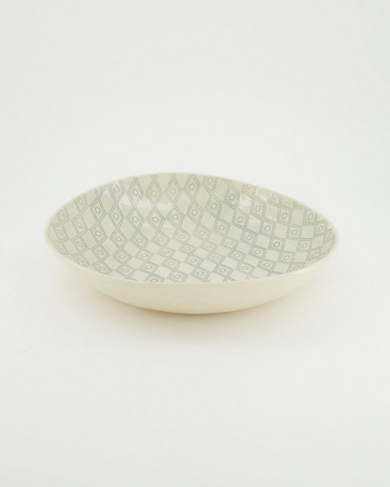Fiona Patterned Salad Set Bowl -  duck-egg