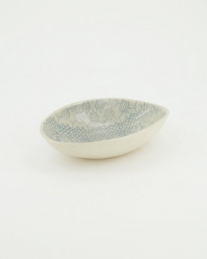 Fiona Etosha Half Patterned Bowl (Small) -  duck-egg