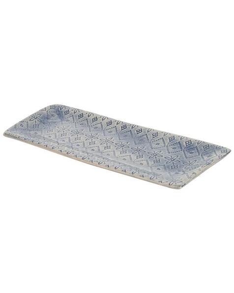Wonki Ware Skinny Patterned Utensil Dish -  blue