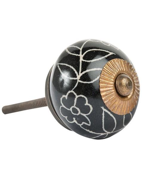 Black Leaf Floral Knob -  black