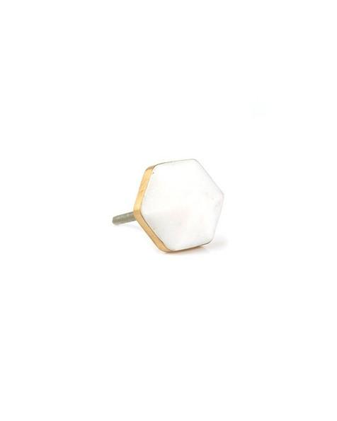 White Hexagon Stone Knob -  white