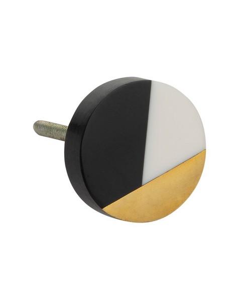 Black, White & Brass Modern Knob -  black