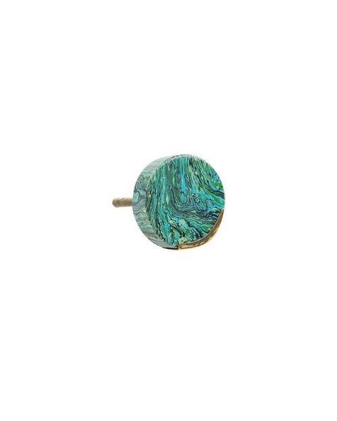 Green Marble & Brass Knob -  green