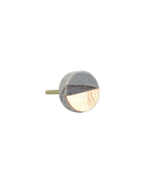 Grey Stone & Hammered Copper Knob -  grey