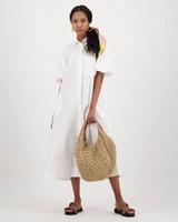 Jude Button-Down Dress -  white
