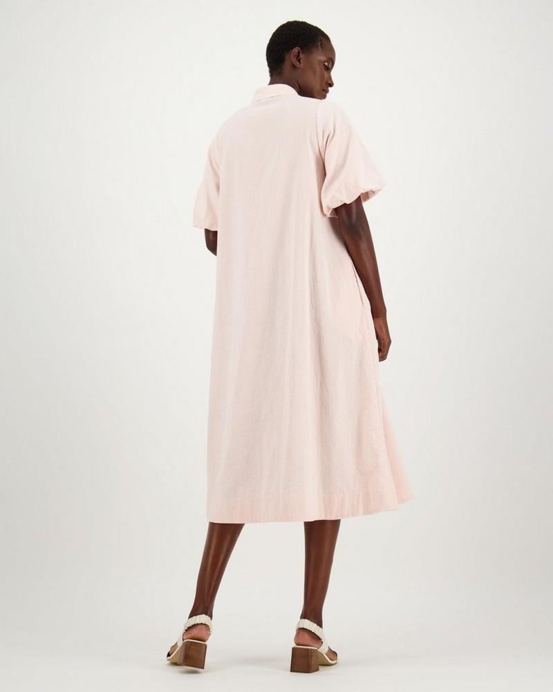 Jude Button-Down Dress -  peach