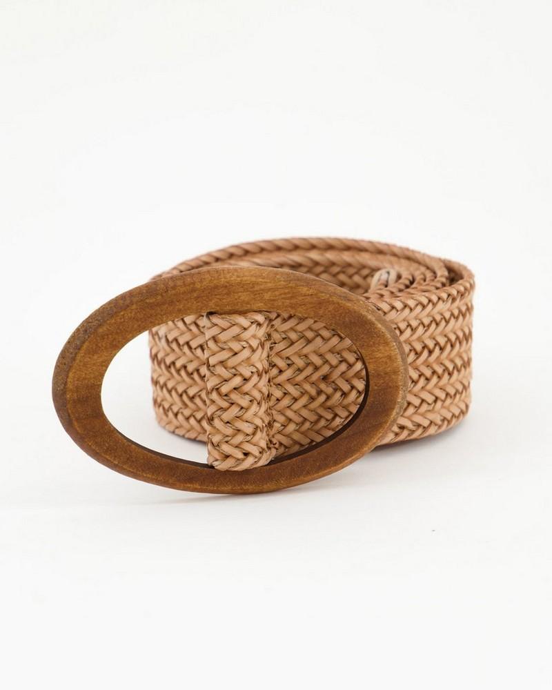 Tonje Woven Textured Belt -  brown