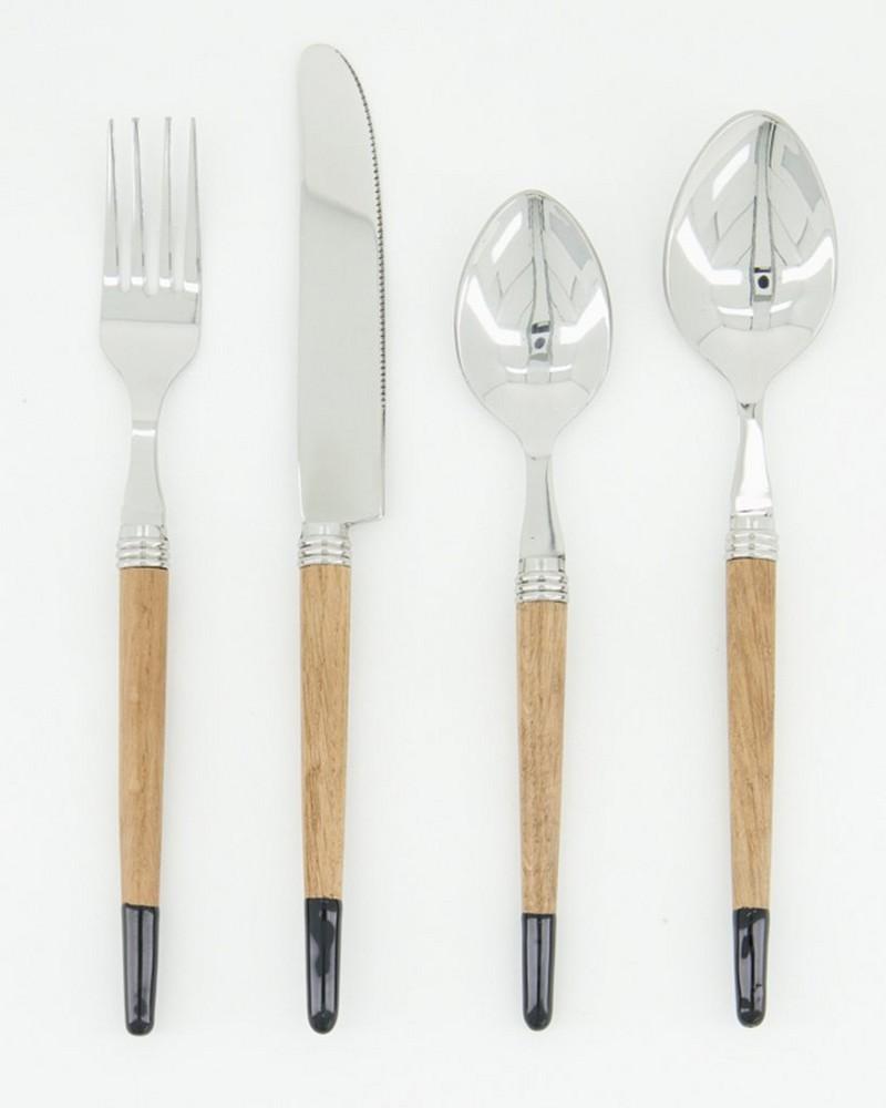 24-Piece Layla Oak Cutlery Set -  brown