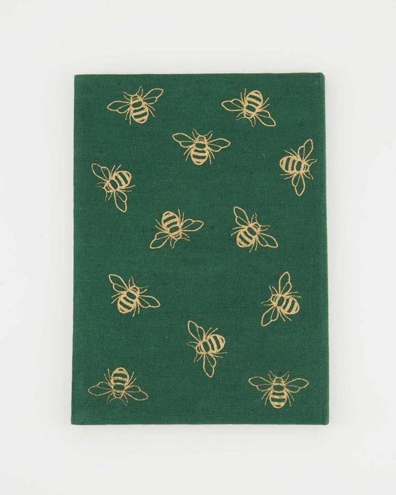 Green Bee Linen Notebook -  green