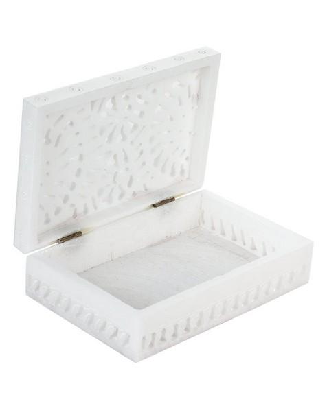 Alabaster Carved Box -  white