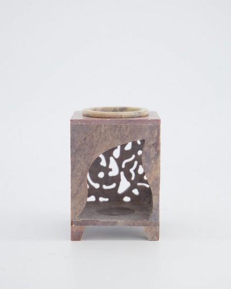 Soapstone Flower Oil Burner -  oatmeal