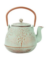 Tall Mint Teapot with Copper Handle -  mint