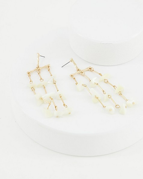 Shell Cascade Drop Earrings -  milk