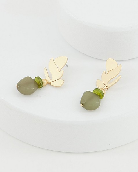 Leaf and Stone Drop Earrings -  olive