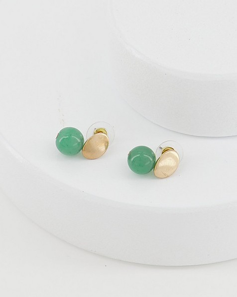 Oval Disk and Stone Double Drop Earrings -  emerald