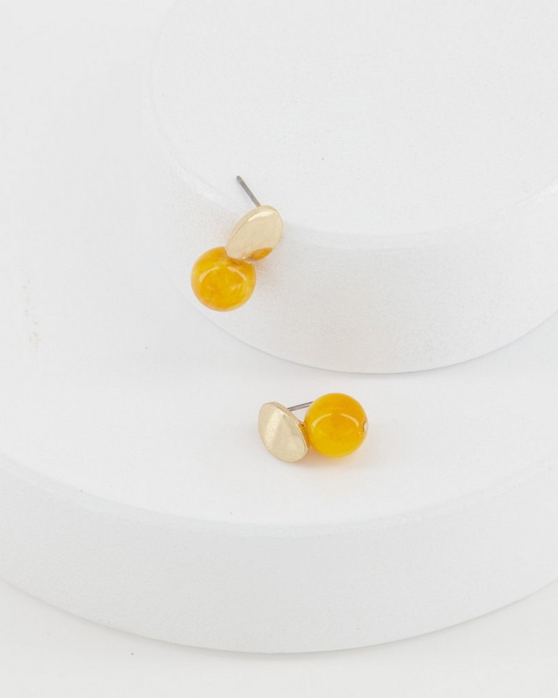 Oval Disk and Stone Double Drop Earrings -  yellow
