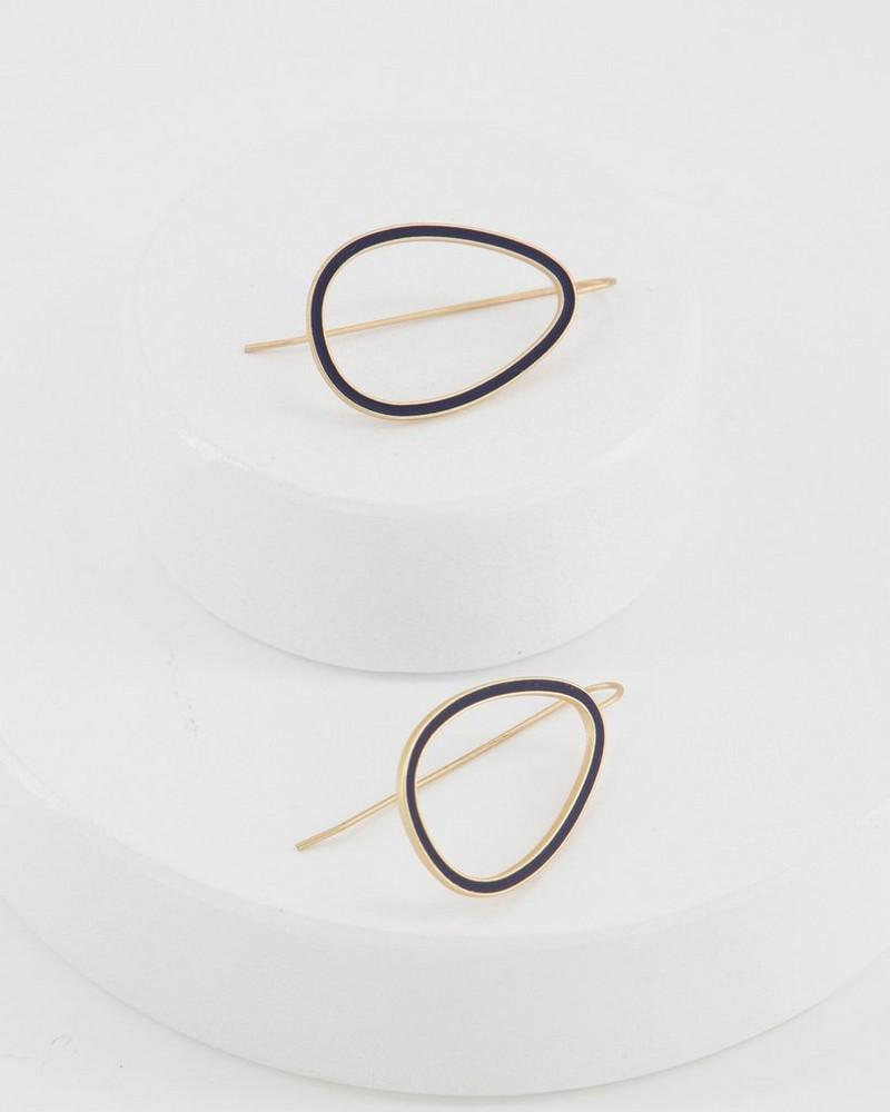 Geo Drop Epoxy Finish Earrings -  navy
