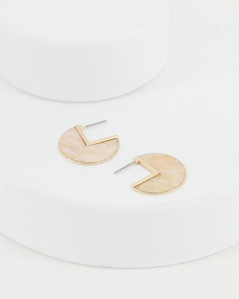Shell Halfmoon Hoop Earrings -  yellow