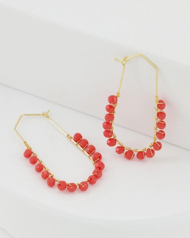 Oval Beaded Hoop Earrings -  gold
