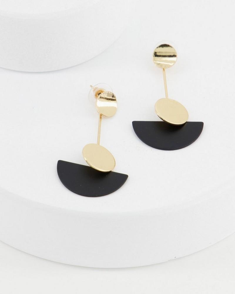 Metal Fan Wire Drop Earrings -  black