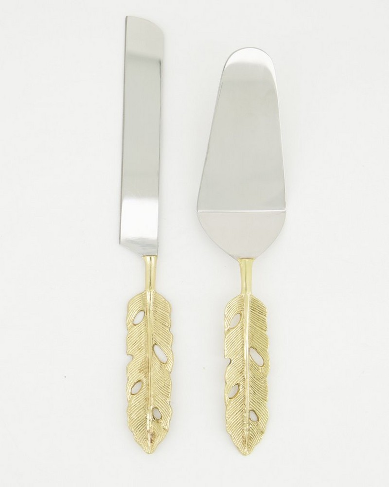 Quill Cake Lifter and Knife Set -  gold