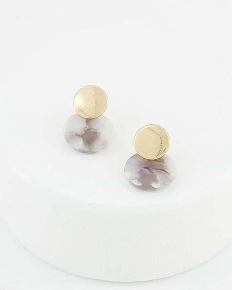 Dome and Resin Stud Earrings -  grey