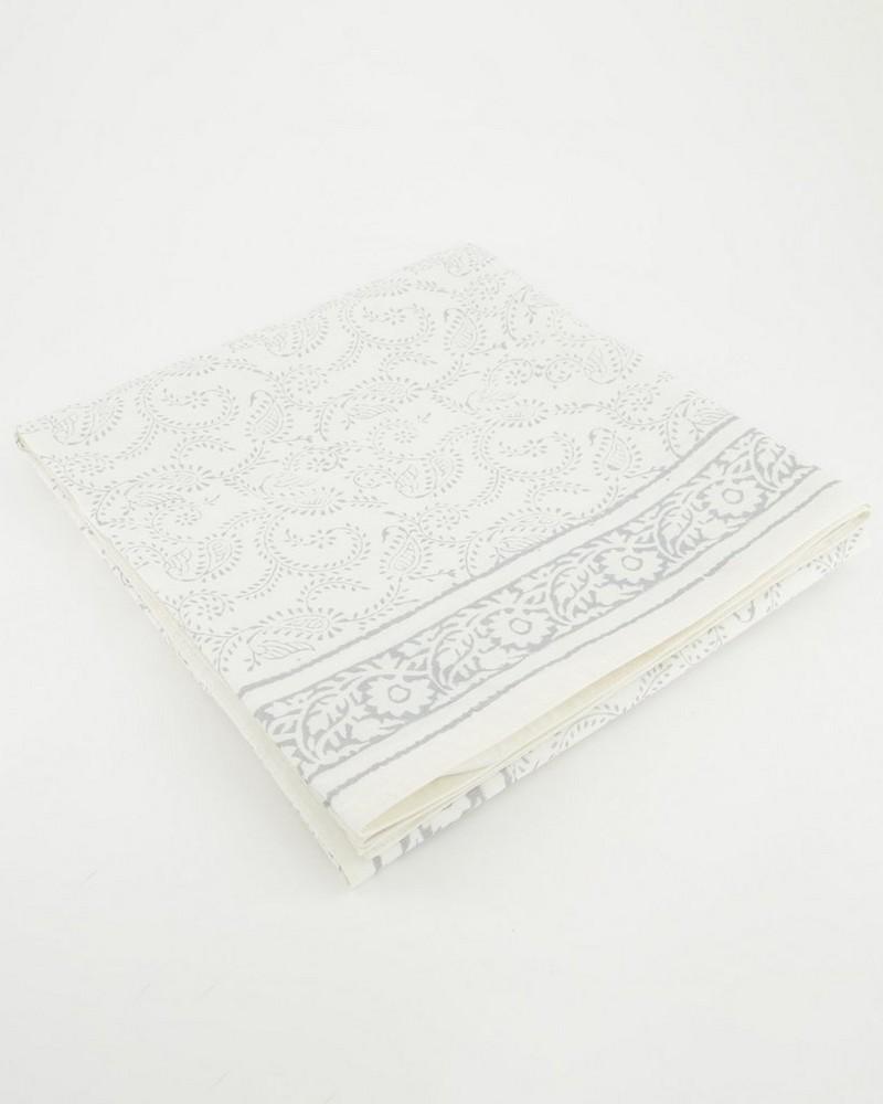 Elina Silver Tablecloth -  white